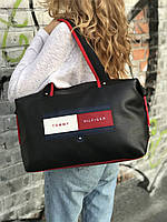 Спортивная сумка из PU кожи черная стильная модная вместительная Tommy Hilfiger, фото 1