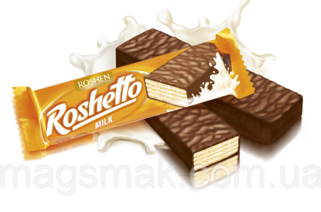 Вафельные батончики Roshetto milk chocolate 32г