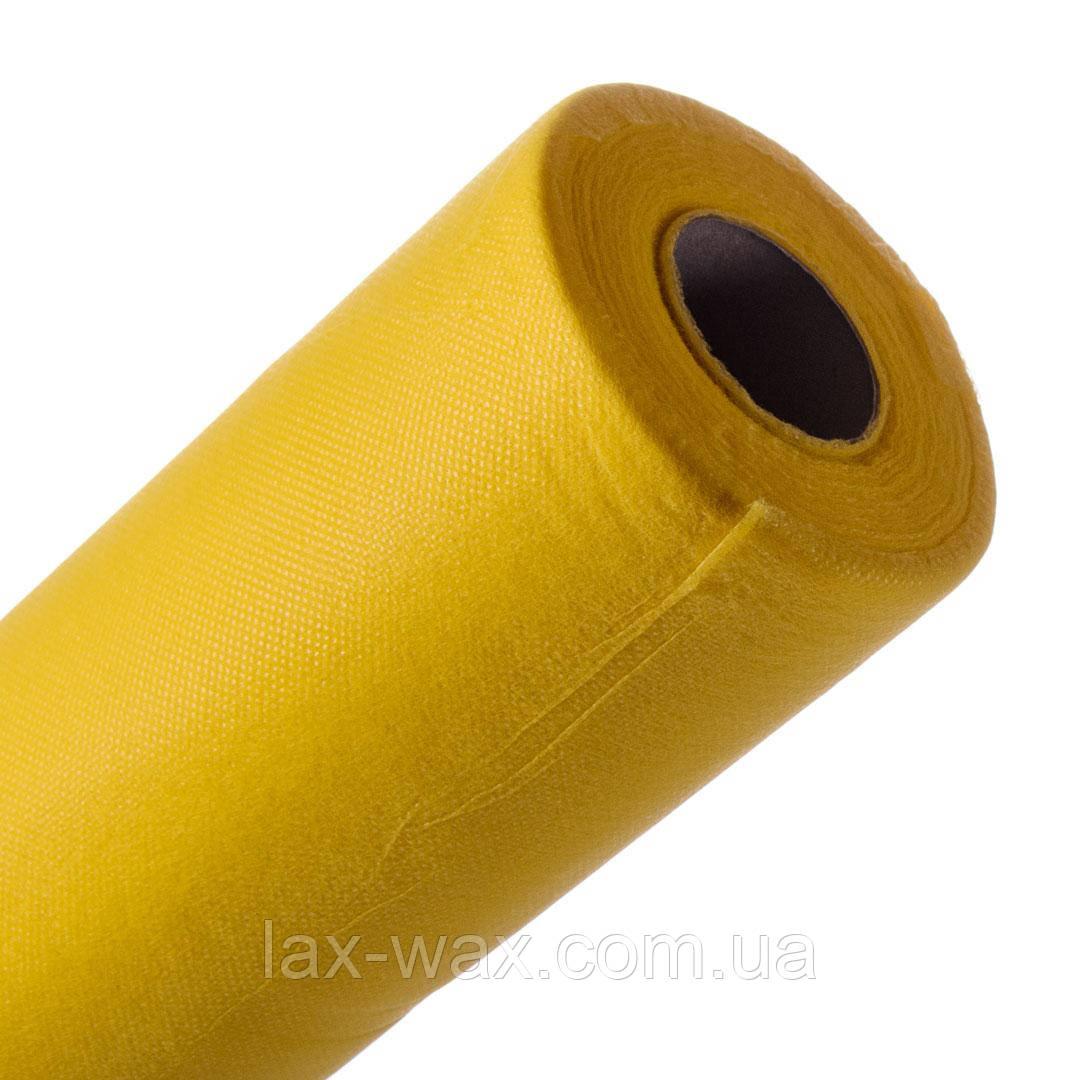 Одноразові простирадла 0,6х100м ТМ Panni Mlada (жовтий)