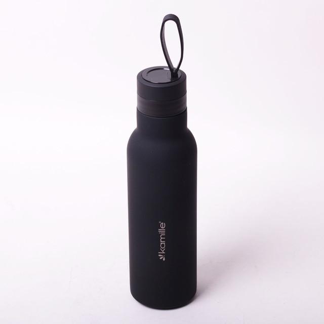 Термос-бутылка Kamille 475 мл из нержавеющей стали с силиконовым ремешком, термочашка, спортивный термос