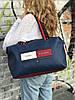 Спортивная сумка из PU кожи синяя стильная модная вместительная Tommy Hilfiger