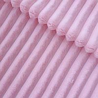Плюш минки stripes нежно-розовый в полоску, ширина 83 см, (350 г/м), фото 1