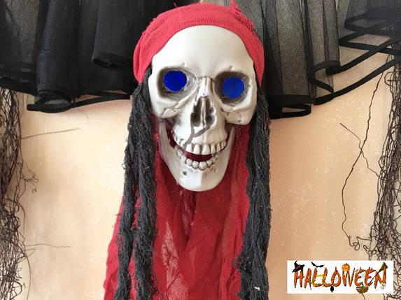 """Декор """"Підвісний череп у червоному з внутрішнім світлом"""", фото 2"""