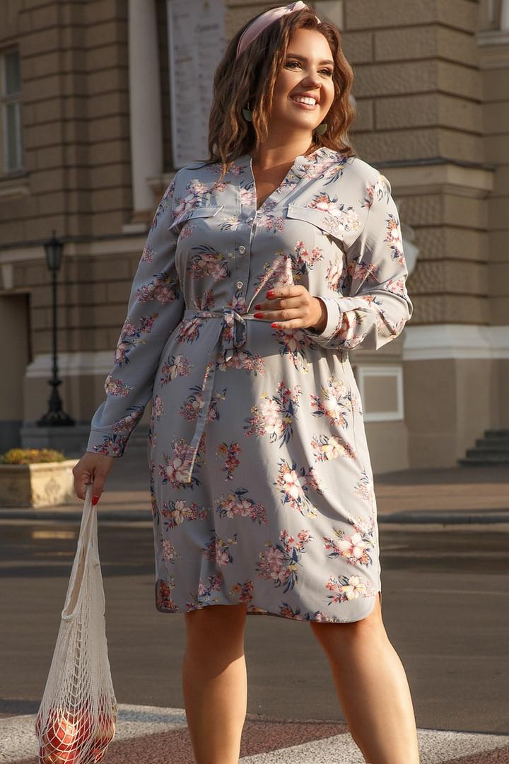 Платье Lilove 1002-1 56-58 серый