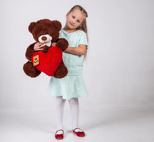 Плюшевий ведмедик з сердечком Yarokuz Джеймс 65 см Шоколадний, фото 2