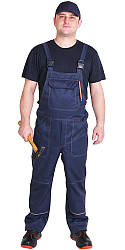 """Спецодяг літній комплект """"Будівельник"""" з синьої футболкою і напівкомбінезоном (грета ЧШК)"""