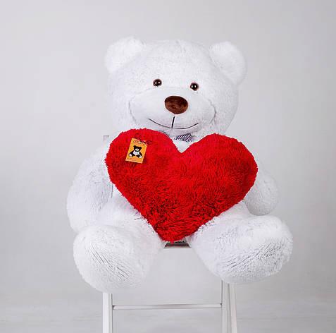 Плюшевий ведмедик із серцем Yarokuz Бенжамін 135 см Білий, фото 2