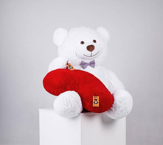 Великий плюшевий ведмедик з сердечком Yarokuz Джеральд 165 см Білий, фото 2