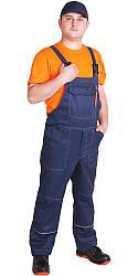 """Спецодежда летний комплект """"Строитель"""" с оранжевой футболкой и полукомбинезоном 80% х.б."""