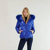 Пуховик-куртка зимний короткий женский Snowimage с капюшоном и натуральным мехом 42