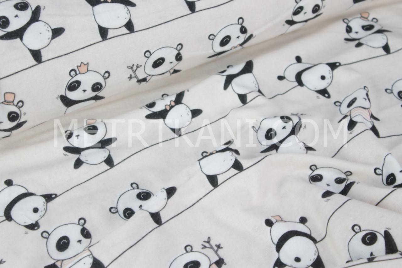 """Детская фланель """"Мишки панды""""на  пудровом фоне № 982"""