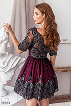 Вечернее платье-мини глубокого красного цвета v-образный вырез спереди и на спине, фото 3