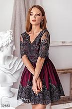 Вечернее платье-мини глубокого красного цвета v-образный вырез спереди и на спине, фото 2
