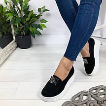 Чорні замшеві туфлі на танкетці, фото 2