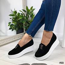 Чорні замшеві туфлі на танкетці, фото 3