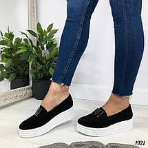 Черные замшевые туфли на танкетке, фото 2