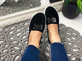 Черные замшевые туфли на танкетке, фото 3