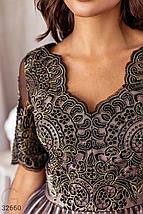 Платье на вечер выше колен дополнены ажурными узорами и вышивкой бисером объемная юбка цвет бежево-черный, фото 3
