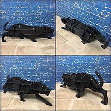 Мебель из натуральных материалов пантера. Полка 3D (черный)