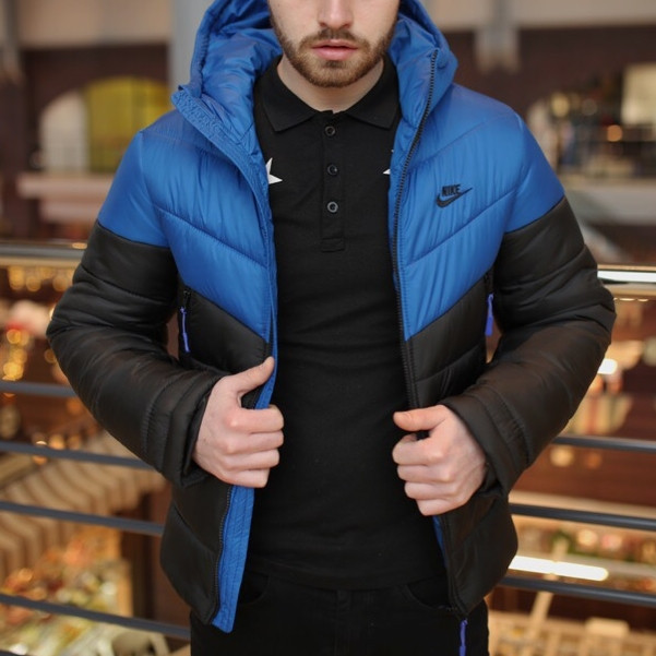 Мужская зимняя куртка - Two in One синий-черный