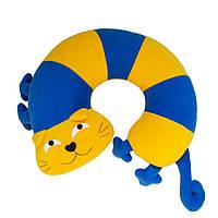 Дизайнерская подушка-подголовник / игрушка Silenta Кот Полосатый Желто-синий, фото 1