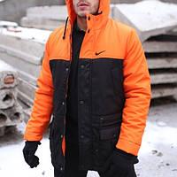Мужская зимняя куртка - теплая Парка оранжевый-черный
