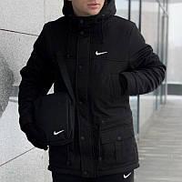 Мужская зимняя куртка - теплая Парка черный
