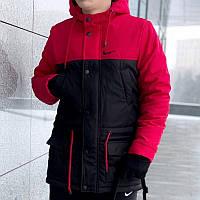 Мужская зимняя куртка - теплая Парка красный-черный
