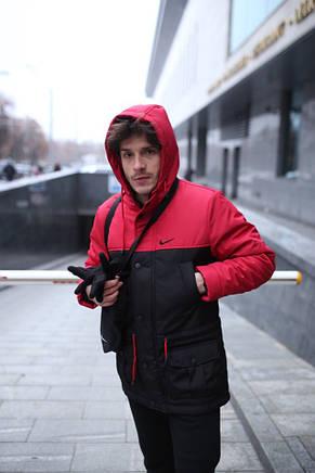 Мужская зимняя куртка - теплая Парка красный-черный, фото 2