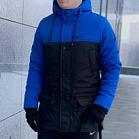 Мужская зимняя куртка - теплая Парка синий-черный