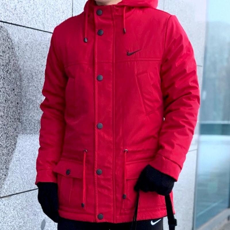 Мужская зимняя куртка - теплая Парка красный