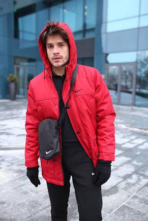 Мужская зимняя куртка - теплая Парка красный, фото 2