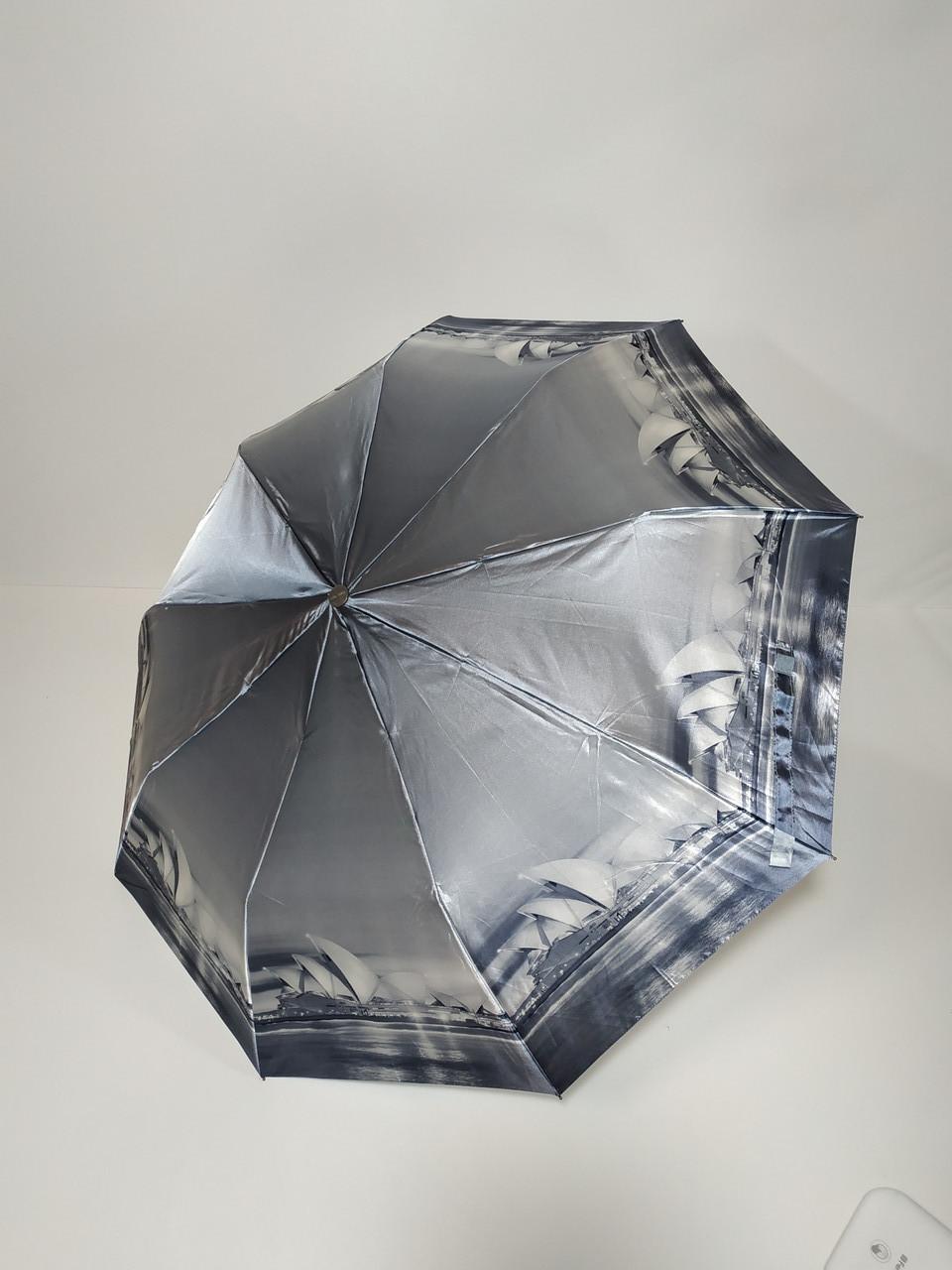Зонт полуавтомат Calm Rain с изображениями городов сатин Черно-белый (483-2)