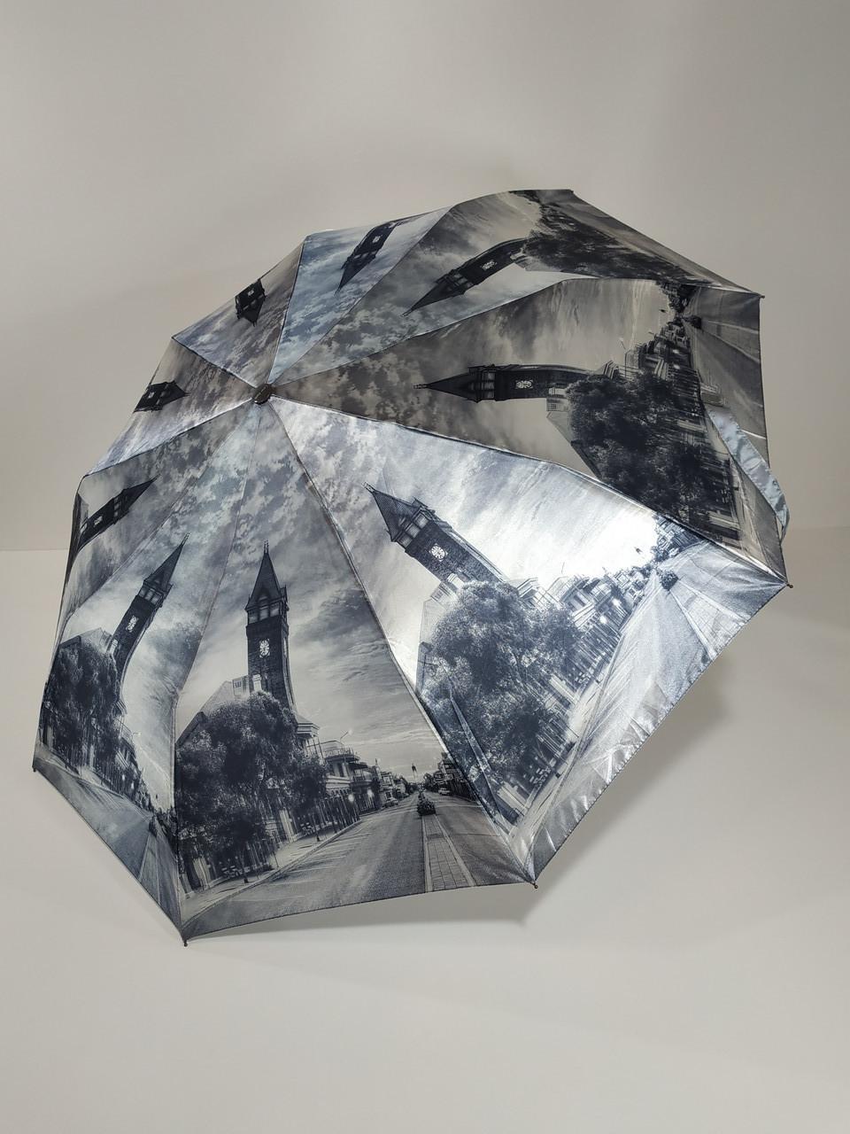Зонт полуавтомат Calm Rain с изображениями городов сатин Черно-белый (483-8)