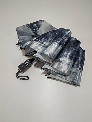Зонт полуавтомат Calm Rain с изображениями городов сатин Черно-белый (483-8), фото 2