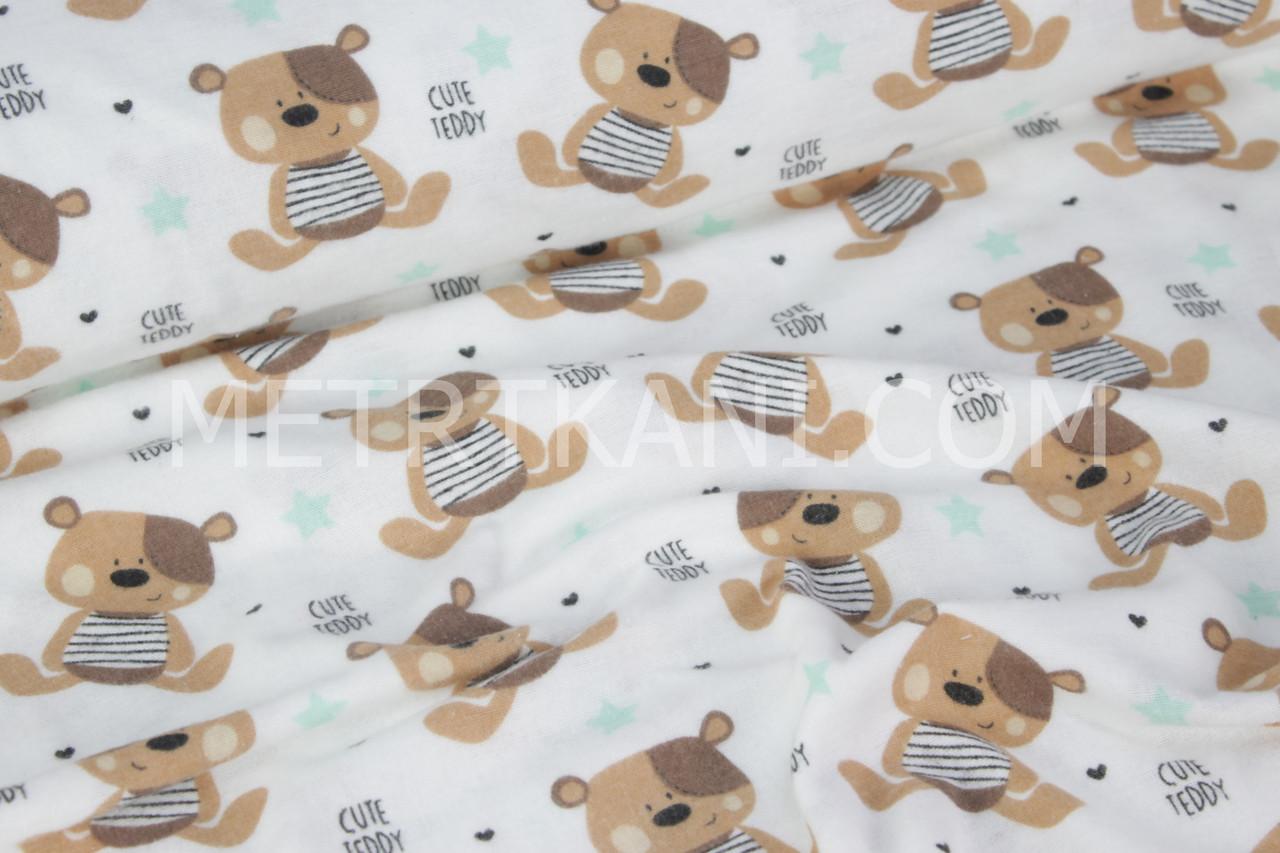 Фланель детская с мишками и мятными звездами № 407