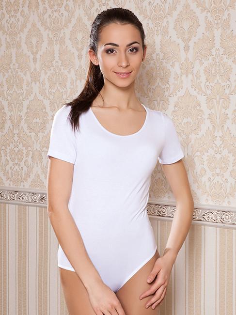 Базовое женское боди футболка (размеры XS-2XL в расцветках) Белый, XS