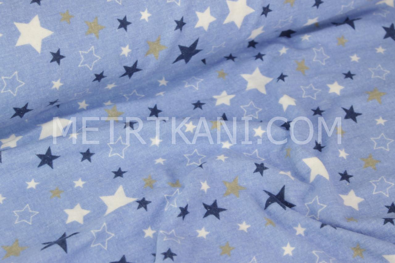 """Фланель детская  """"Разноцветный звездопад"""" синими и белыми звёзды на голубом фоне  №1299"""