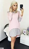 Женское теплое шерстяное ангоровое стрейчевое платье вставки клетка размер батал скл.1 арт.58551