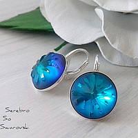 Оригинальные серебряные сережки с камнями Сваровски