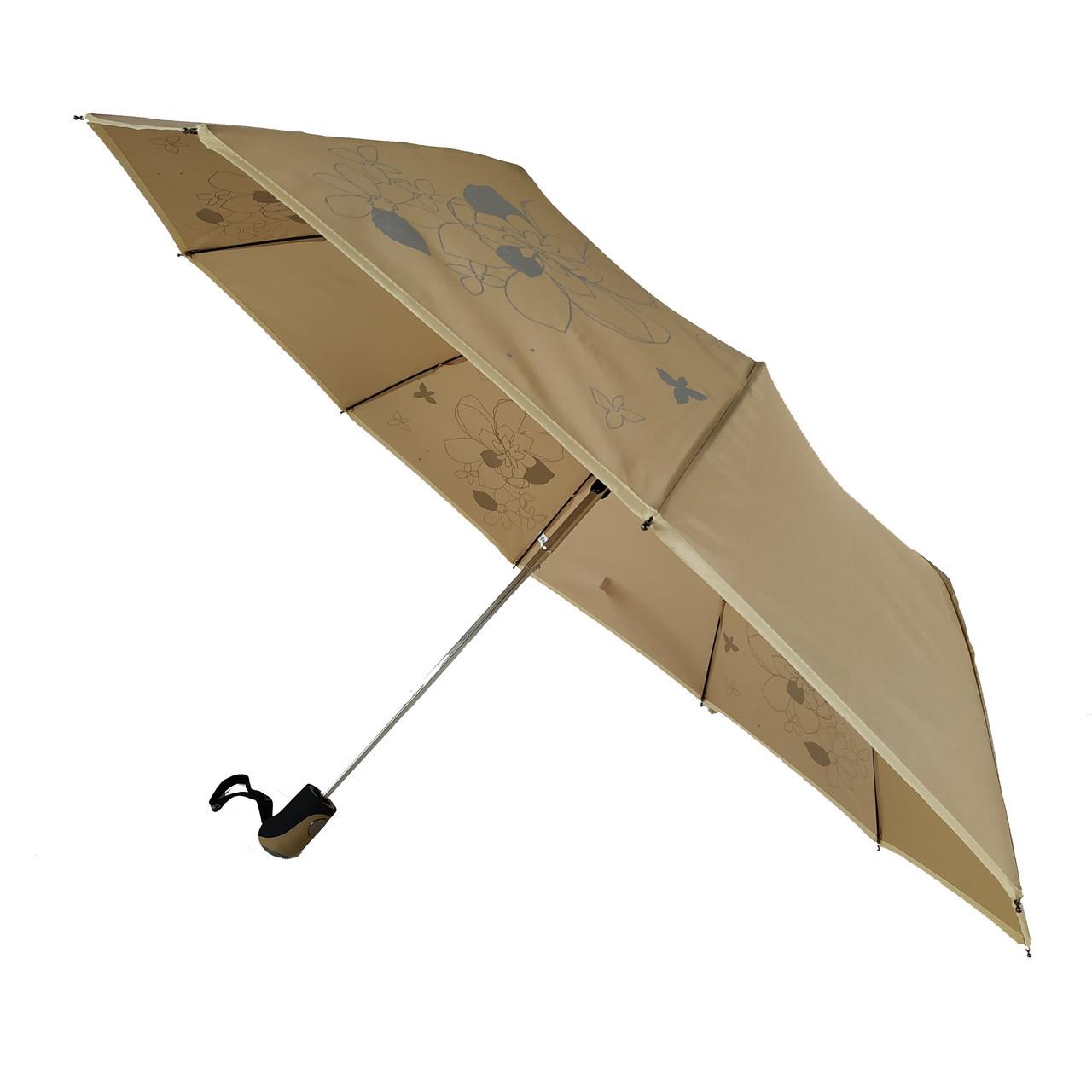 Зонт полуавтомат Max Lilu с изображением цветов Коричневый (114-5)