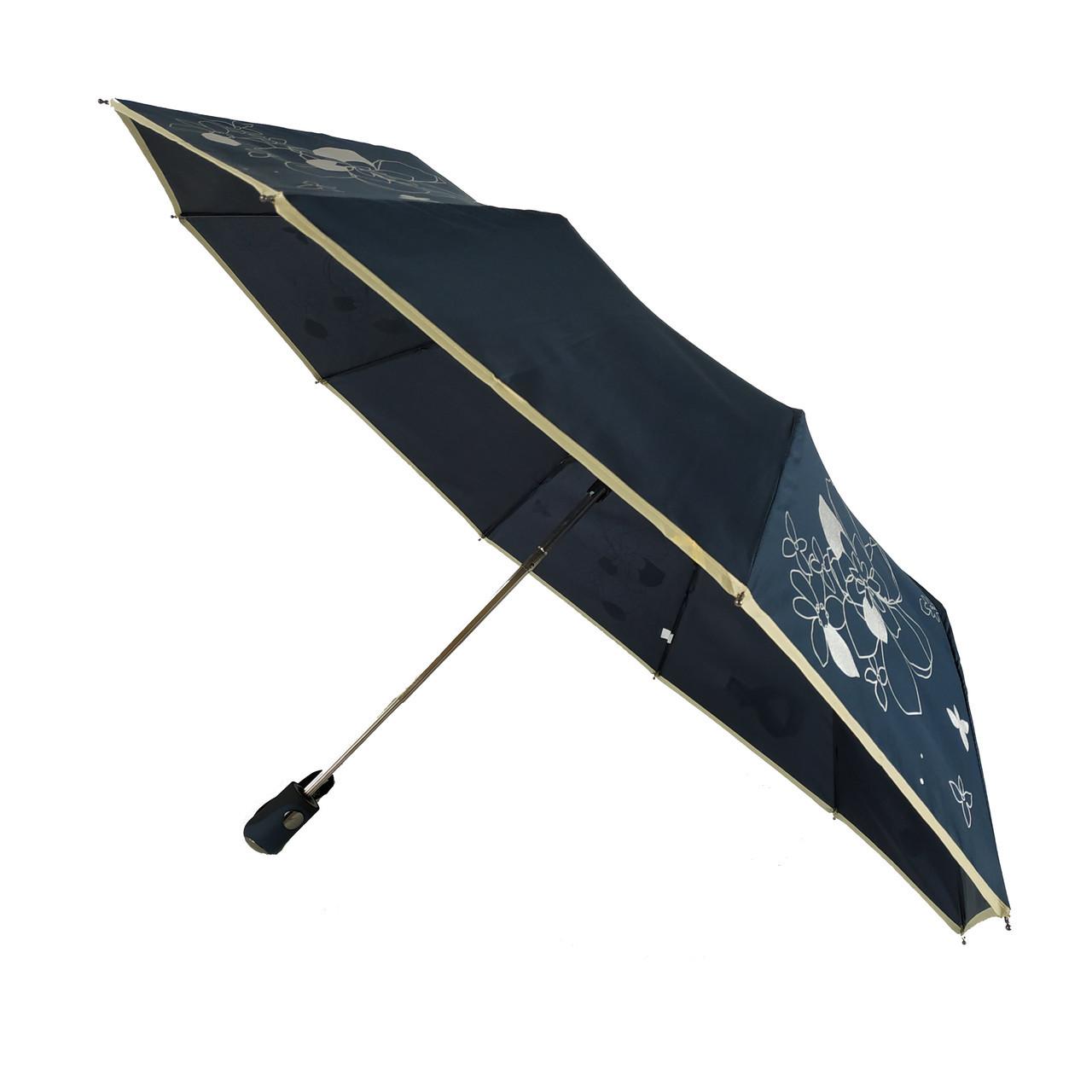 Зонт полуавтомат Max Lilu с изображением цветов Черный (114-7)