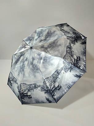 Зонт полуавтомат Calm Rain с изображениями городов сатин Черно-белый (483-6), фото 2