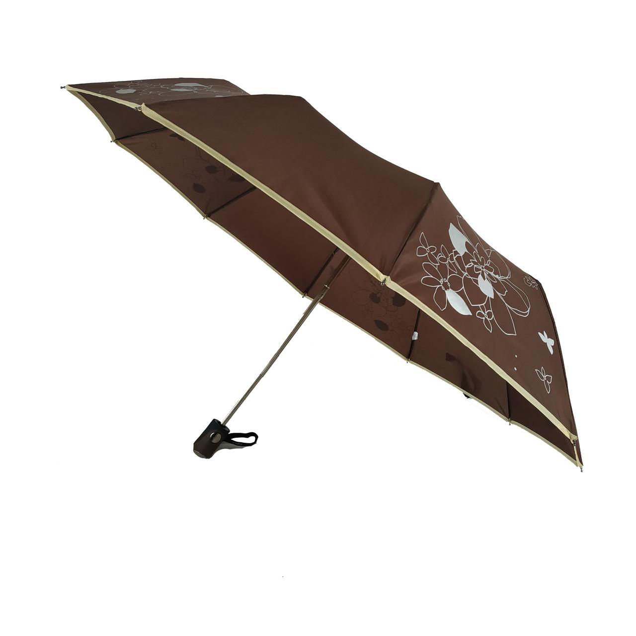 Зонт полуавтомат Max Lilu с изображением цветов Коричневый (114-8)