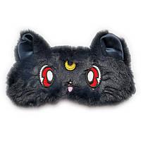 Дизайнерская маска для сна Silenta Moon Cat (темные ушки), черная., фото 1
