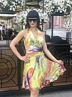 Платье сарафан женское летнее через шею шелк цветное яркое стильное легкое молодежное