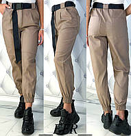 Брюки женские стрейч-джинс черный, бежевый, коричневый, джинс С-М Л-ХЛ