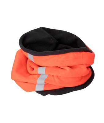 Яркий молодежный зимний шарф-хомут на флисе оранжевый