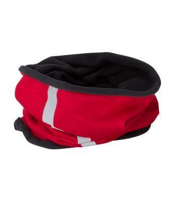 Теплый молодежный зимний шарф (бафф) красный с черным