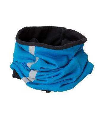 Бафф мужской теплый двухцветный светло-синий с черным (светоотражающая полоса)